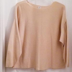 JJILL Cotton Knit Sweater XL Beige Tan